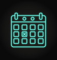calendar with marked day icon in neon line style vector image vector image