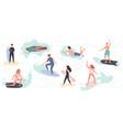 collection cute surfing people in swimwear vector image