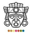 coloring atzec african mexican mask vector image vector image