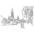 continuous one line drawing of historical town vector image vector image