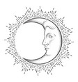 crescent moon with face in antique style vector image vector image