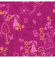 Doodle kids seamless background vector image