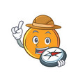 explorer orange fruit cartoon character vector image vector image