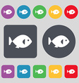 fish icon sign A set of 12 colored buttons Flat vector image