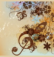 floral music background with treble clef vector image