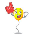 foam finger yellow balloon isolated on for mascot vector image