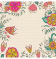 frame floral background retro flowers made vector image