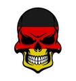 Germany flag colors on danger skull vector image vector image