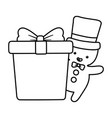 gingerbread man with hat and gift decoration merry vector image vector image