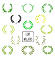 Hand drawn decorative floral set of 13 wreaths