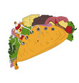 hand drawn tacos icon badge fast food vector image