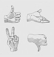 hands line icon set vector image