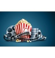 movie film reel and popcorn vector image vector image
