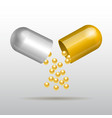 Opening gold medical capsule vector image vector image