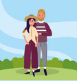 pretty woman and man couple with casual clothes vector image vector image