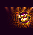 scene golden 100 sale off text banner night sign vector image vector image