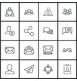 set of 16 social icons includes web profile vector image vector image