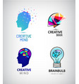 set of creative mind brainstorm brain vector image vector image