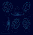 set with a contour a table fan in different vector image vector image