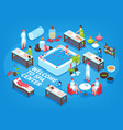 spa center isometric background vector image vector image