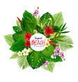 summer tropical palm leaves and flower poster vector image