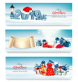 three holiday christmas banners with 2019 and vector image