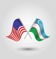 two crossed american and uzbek flags vector image vector image