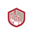 Union Worker Wielding Hammer Shield Retro vector image vector image