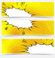 Yellow header book comic explosion banner vector image vector image