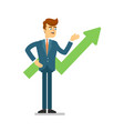 young businessman presentation business growth vector image vector image