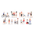 family sports activity collection mothers and vector image