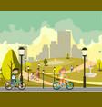 happy little kids in bikes in park vector image