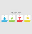 4 celebration filled icons set isolated on vector image vector image