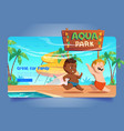 aquapark cartoon landing with kids playing park in vector image