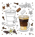 black and white and color vanilla cappuccino and vector image vector image