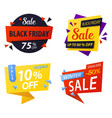 Black friday price discount tags for sale vector image