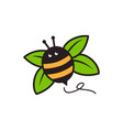 bumble bee leaf logo mascot cartoon character vector image