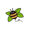 bumble bee leaf logo mascot cartoon character vector image vector image