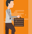 businessman holding briefcase walking activity vector image