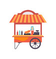cart with hot dogs and female seller street fast vector image vector image