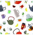 cartoon tea kettles and cups pattern vector image vector image