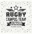College rugby junior team emblem vector image vector image