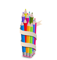 Colorful pencils with ribbon on white background vector image