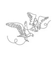 continuous one line drawing two birds play vector image vector image