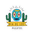 dia de los muertos logo traditional mexican day vector image vector image