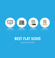 flat icon computer set of display technology vector image vector image