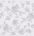 floral seamless pattern with roses outline vector image