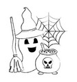 halloween ghost with hat and broom cauldron vector image vector image