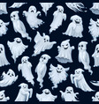 halloween holiday cartoon ghost seamless pattern vector image vector image