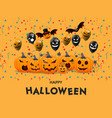 halloween with pumpkins face poster party harvest vector image vector image